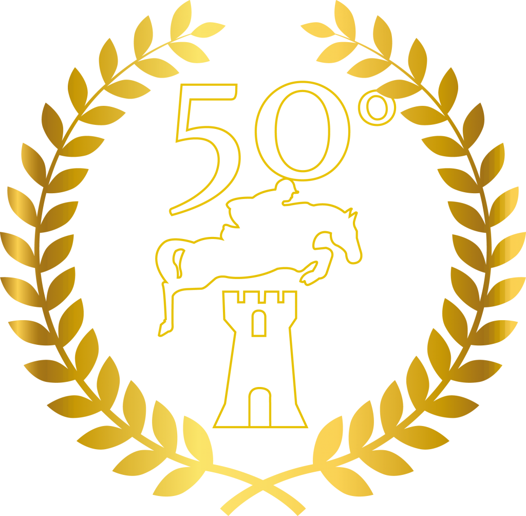 logo 50 bianco bordato oro